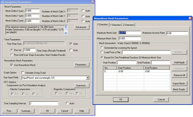 Non-uniform mesh feature