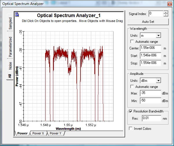 Represents the optical spectrum detected at the lower branch.