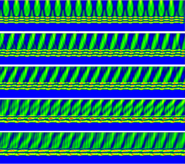 FDTD - Dynamic near field pattern for a silver binary grating at different incident angles.