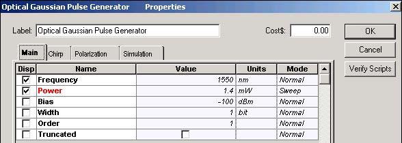 Optical System - Figure 2 Optical Gaussian Pulse Generator Main parameters
