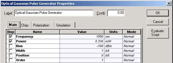 Optical System - Figure 3 Optical Gaussian Pulse Generator Main parameters