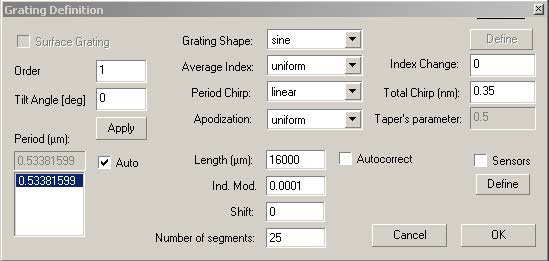 Optical System - Figure 5 Grating Definition dialog box
