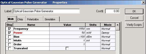 Optical System - Figure 9 SOA Gaussian Pulse Generator parameters