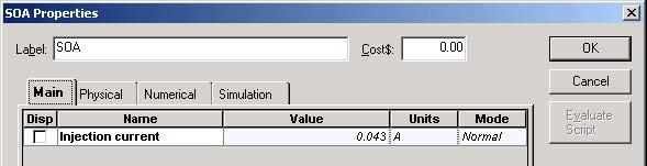 Optical System - Figure 7 - SOA Main parameters