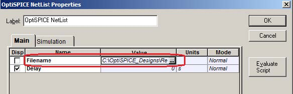 Optical System - Figure 3 - Selection of the OptiSPICE Netlist file within the OptiSPICE Netlist component