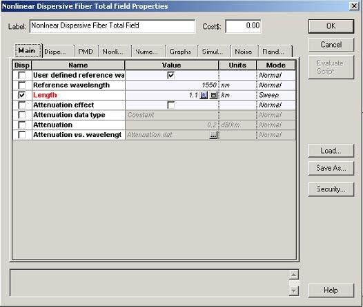 Optical System Setup parameters