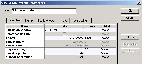 Optical System - Figure 2 - Simulation parameters for transmission at 10 Gbs