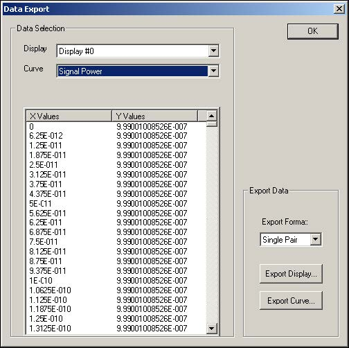 Optical System - Figure 34 -  Data Export dialog
