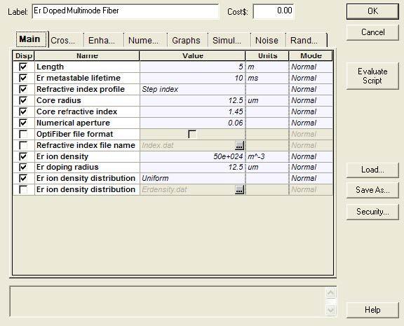 Optical System - Figure 1 - Doped fiber parameters