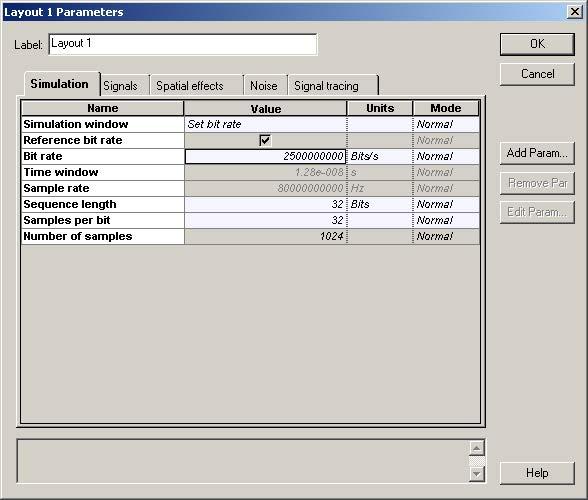 Optical System - Figure 2 -  Global parameters Simulation parameters tab