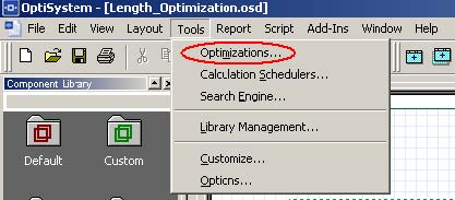 Optical System - Figure 20 -  Optimizations option at the Tools menu