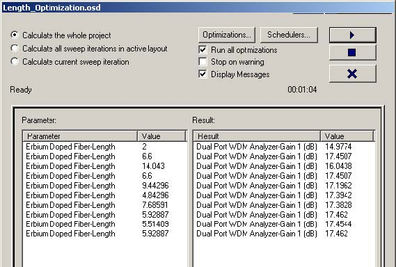 Optical System - Figure 21 - Optimizations tab during calculation