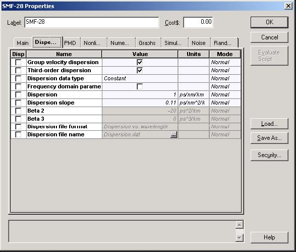 Optical System - Figure 4 - SMF-28 fiber properties dialog box—Dispersion tab