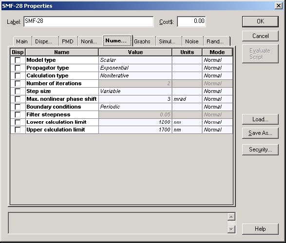 Optical System - Figure 6 - SMF-28 fiber properties dialog box—Numerical tab