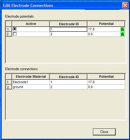 BPM -Figure 21 Edit Electrode Connections dialog box, with potentials