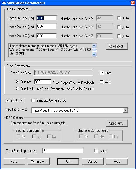 FDTD - Figure 1 3D Simulation parameters dialog box