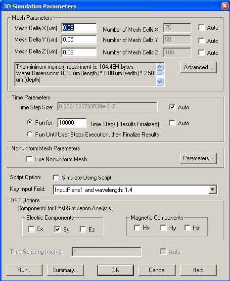 FDTD - Figure 35 3D Simulation Parameters dialog box
