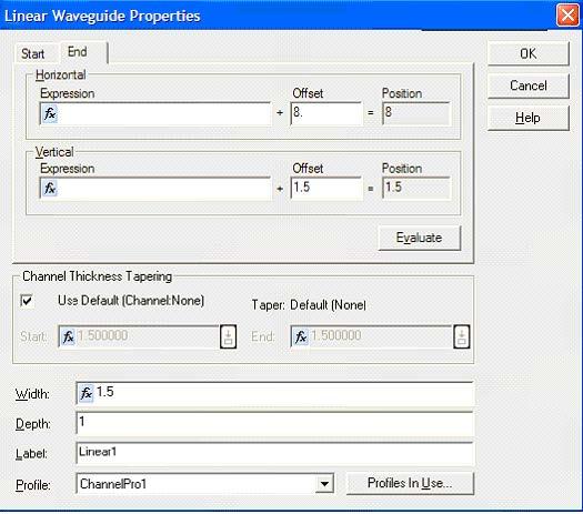 FDTD - Figure 13 Channel waveguide Properties.
