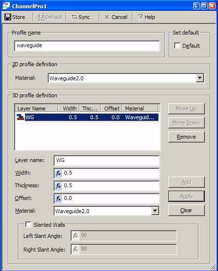 FDTD - Figure 6 ChannelPro1 dialog box