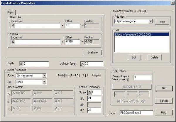 FDTD - Figure 86 Crystal Lattice Properties dialog box