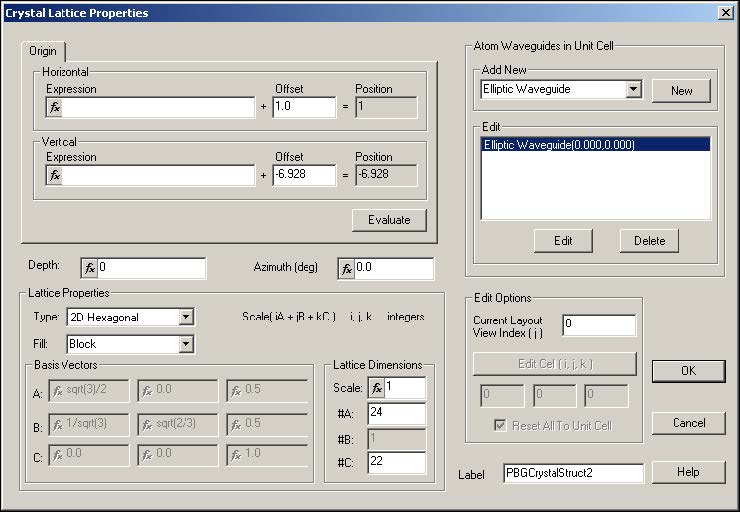 FDTD - Figure 1 Crystal lattice Properties dialog box.