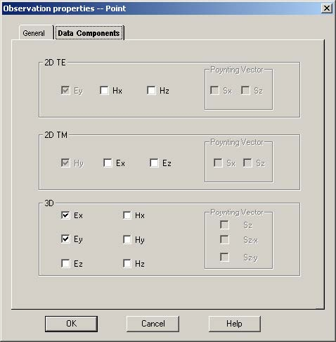 FDTD - Figure 34 Data Components tab