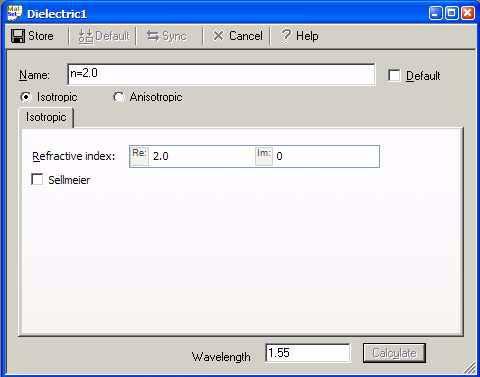 FDTD - Figure 7 Dielectric dialog box