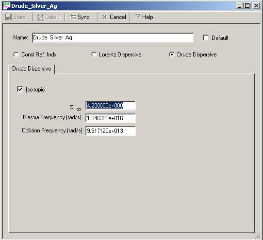 FDTD - Figure 1 Dispersive Material Definition dialog box