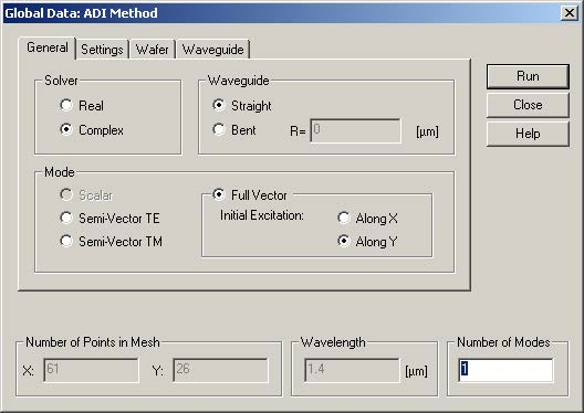 FDTD - Figure 25 Global Data: ADI Method dialog box