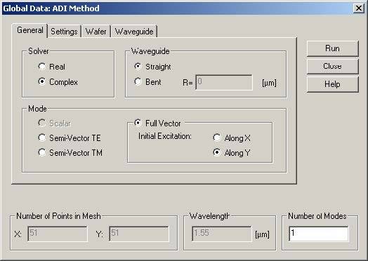 FDTD - Figure 71 Global Data: ADI method dialog box