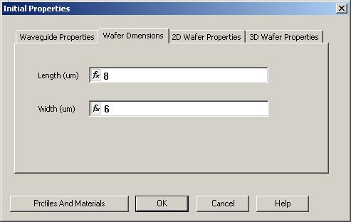 FDTD - Figure 8 Initial Properties dialog box—Wafer Dimensions tab