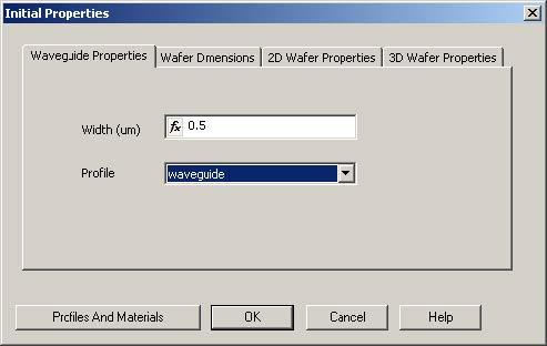 FDTD - Figure 7 Initial Properties dialog box—Waveguide Properties tab