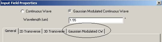 FDTD - Figure 67 Input Field Properties dialog box—Gaussian Modulated CW tab