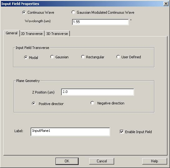 FDTD - Figure 66 Input Field Properties dialog box