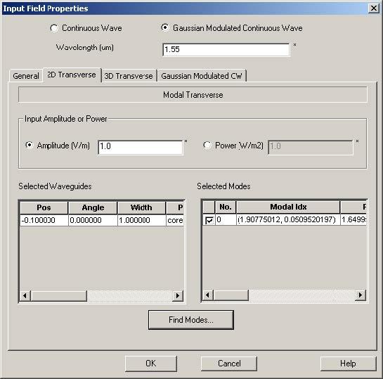 FDTD - Figure 74 Input Plane Properties dialog box—2D Transverse tab