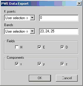 FDTD - Figure 5 PWE Data Export dialog box. User specifies k-vectors, bands as well as individual components to be exported.