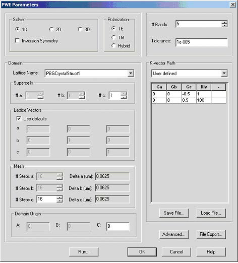FDTD - Figure 4 PWE parameters dialog box