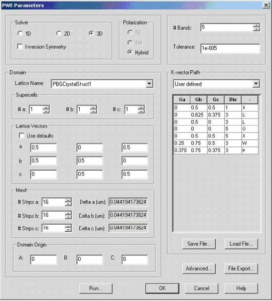FDTD - Figure 3 PWE simulation parameters dialog box