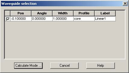 FDTD - Figure 70 Waveguide selection dialog box