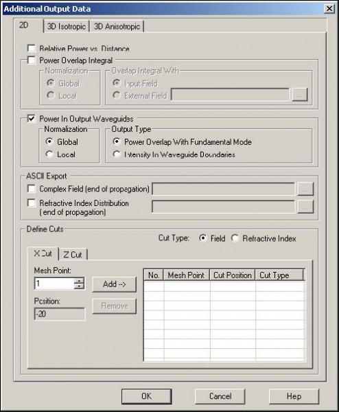 BPM - Figure 25 Additional Output Data dialog box