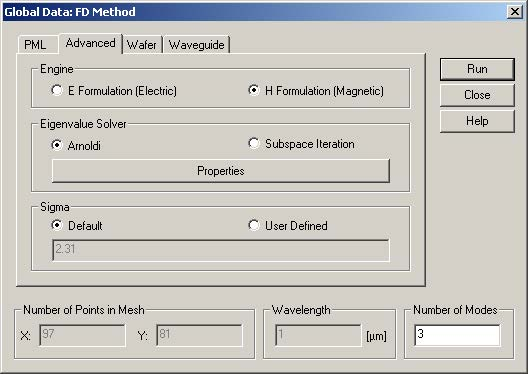 BPM - Figure 18 Advanced settings for the Anisotropic 3D Mode solver