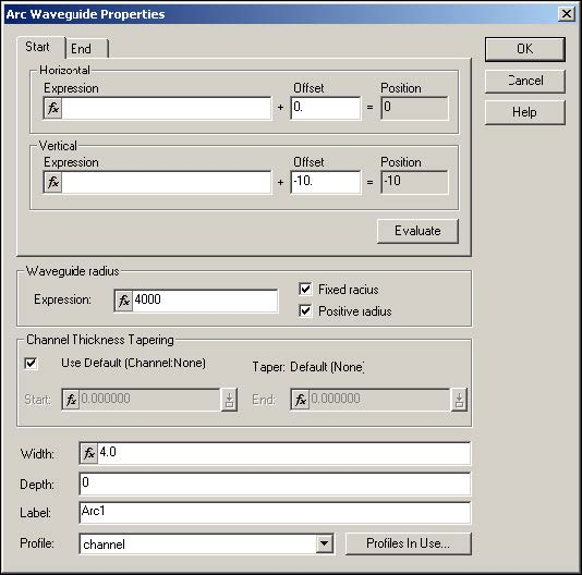 BPM - Figure 5 Arc Waveguide Properties dialog box