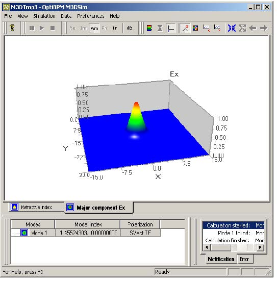 BPM - Figure 11 Calculated modal index and modal field of triangular core fiber