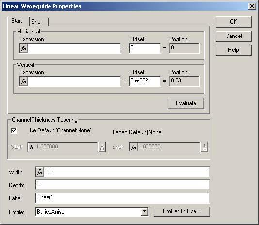 BPM -Figure 7 Linear Waveguide Properties dialog box