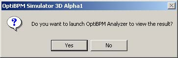 BPM - Figure 30 OptiBPM Analyzer message