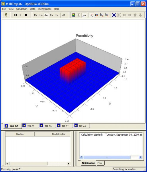 BPM - Figure 15 OptiBPM_M3Dsim window
