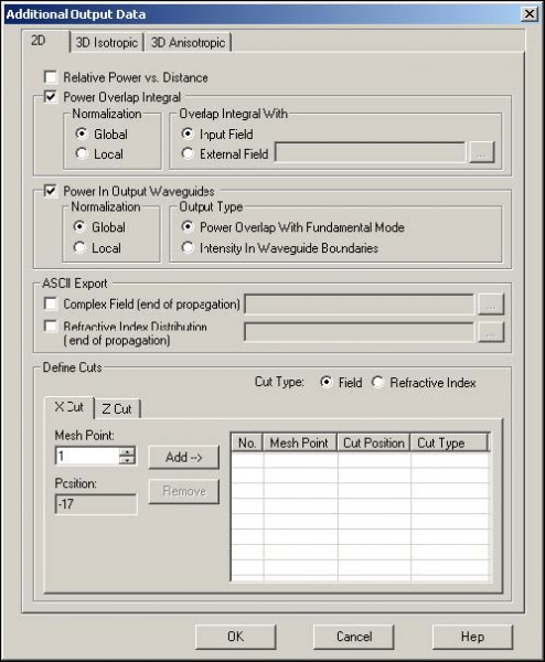 BPM - Figure 9 Selections in Additional Output Data dialog box