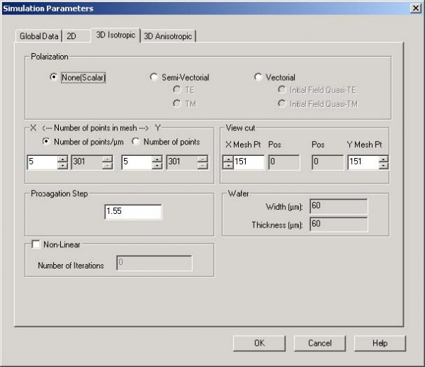 BPM - Figure 4 Simulation Parameters dialog box—3D Isotropic tab
