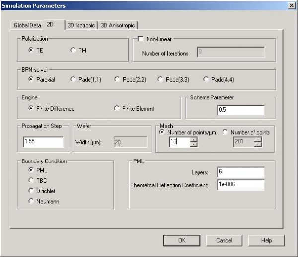 BPM - Figure 11 Simulation Parameters dialog box—Number of points/μm