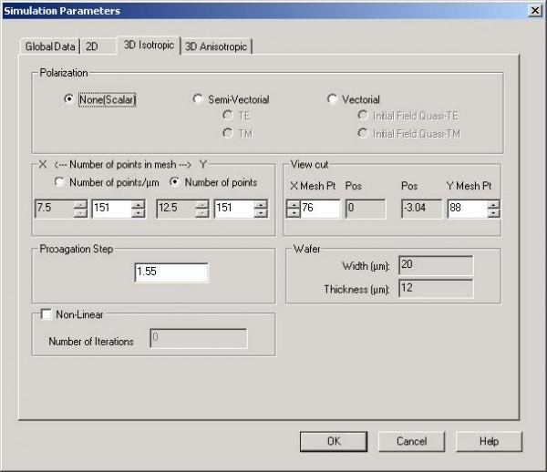 BPM - Figure 7 Simulation parameters dialog box — 3D Isotropic tab